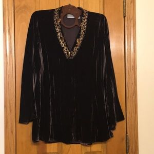 Tunic style beaded crushed velour top